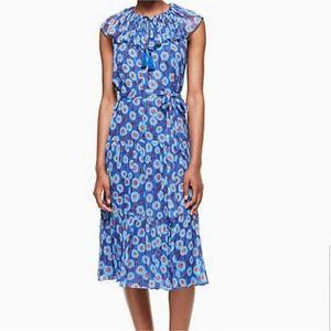 kate spade Tangier Floral Chiffon Dress Cobalt